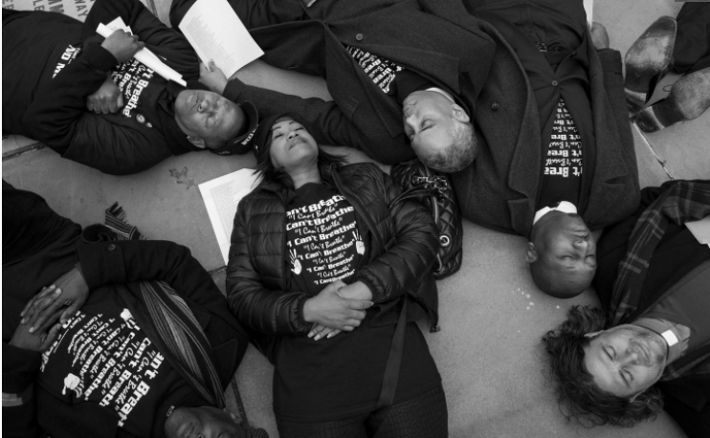 """New York City Council members engage in a falsely advertised """"die in"""". Pic from NY POST."""