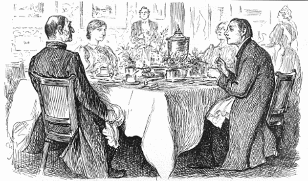 "Bishop: ""I'm afraid you've got a bad egg, Mr Jones""; Curate: ""Oh, no, my Lord, I assure you that parts of it are excellent!"" ""True Humility"" by George du Maurier, originally published in Punch, 9 November 1895."